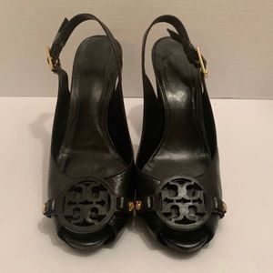 Tory Burch black leather heels
